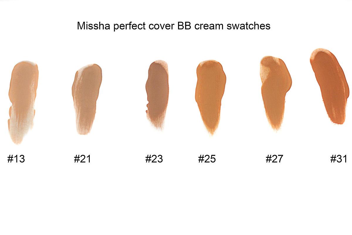 Missha perfect cover BB cream all shades